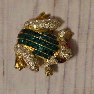 vintage green rhinestone red frog brooch pin gold